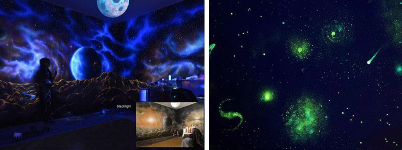 Picturi murale realizate cu vopseaua luminescenta