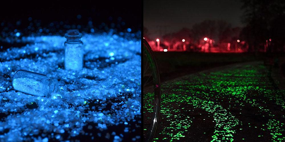 Nisipul fosforescent cu granulatie mare lumineaza superb in noapte